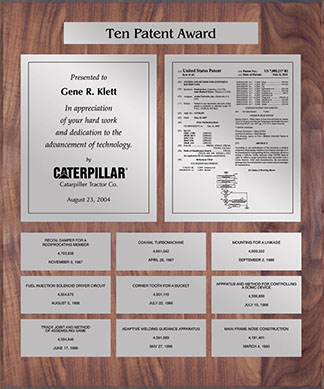 Patent Plaques Custom Wall Hanging 10-Series Patent Plaque - Silver on Walnut.