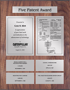 Patent Plaques Custom Wall Hanging 5-Series Patent Plaque - Silver on Walnut.
