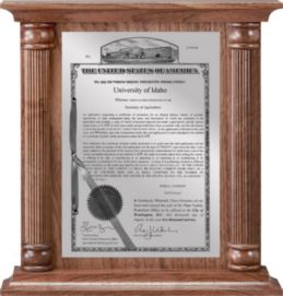 "Patent Plaques Custom Wall Hanging Column PVP Plaque - 12"" x 12.5"" Silver and Walnut."
