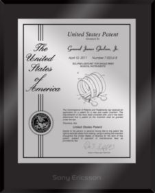 """Patent Plaques Custom Wall Hanging Ultramodern Contemporary Patent Plaque - 10.5"""" x 13"""" Silver and Black Acrylic."""