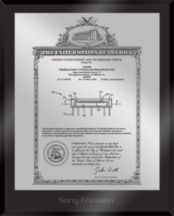 """Patent Plaques Custom Wall Hanging Ultramodern Vintage Patent Plaque - 8"""" x 10"""" Silver and Black Acrylic."""