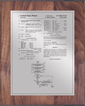"Patent Plaques Custom Wall Hanging Traditional Patent Plaque - 8"" x 10"" Silver and Walnut."