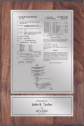 """Patent Plaques Custom Wall Hanging Traditional Patent Plaque - 8"""" x 12"""" Silver on Walnut."""