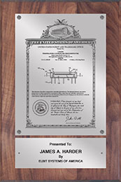 "Patent Plaques Custom Wall Hanging Vintage Patent Plaque - 8"" x 12"" Silver and Walnut."